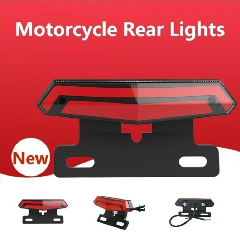Universal Motorcycle Tail Brake Light Scooter Light Rear Brake Stop Waterproof Double Flash Warning Dynamic Turn Signal Light