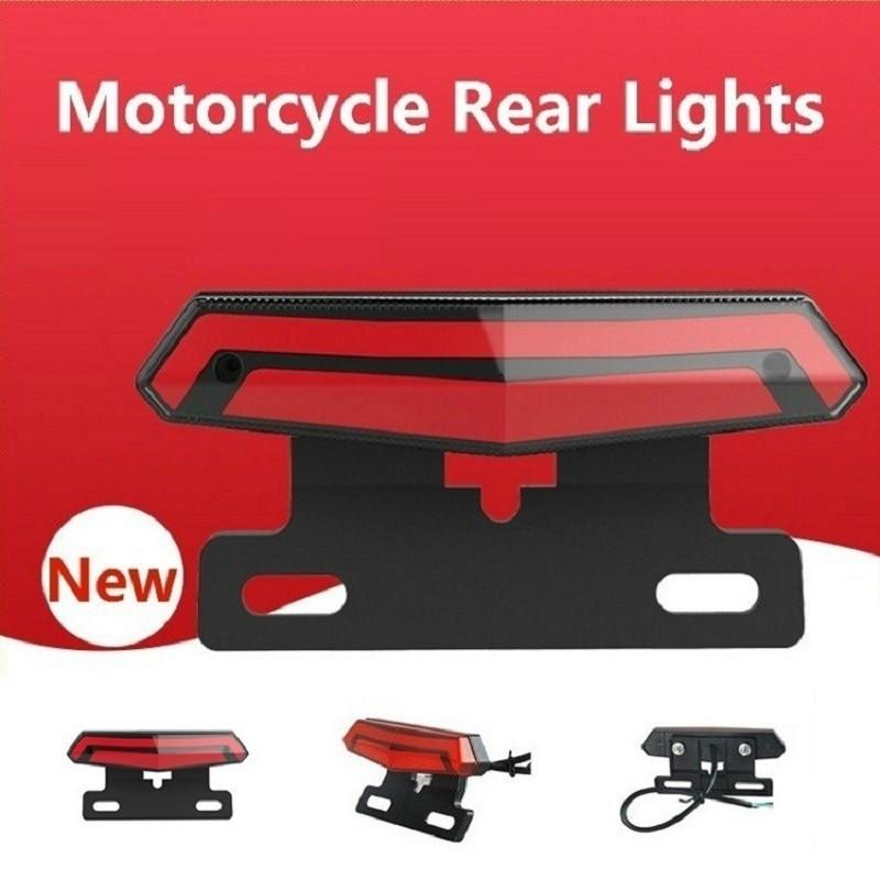 Universal Motorcycle Tail Brake Light Scooter Light Rear Brake Stop Waterproof Double Flash Warning Dynamic Turn Signal Light