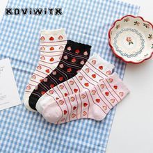 Fruit Strawberry Cotton black socks for women stripe Funny Casual short Lady sock Female Kawaii Harajuku Happy winter womens sox(China)