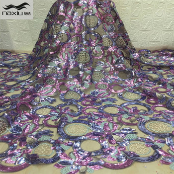 Madison African Lace Fabric High Quality Sequins Lace for Bride Wedding Lace Sequence Fabric Nigerian Tulle Lace Fabric