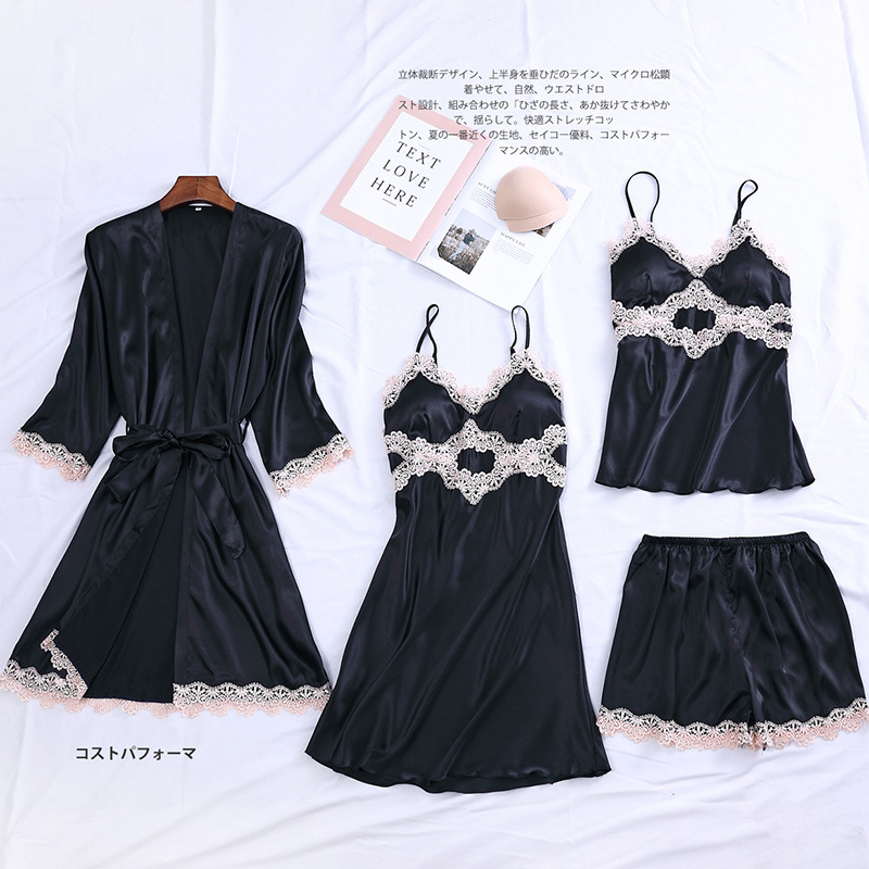 4PCS Robe Set Satin Women Kimono Bathrobe Mini Gown Sexy Sleepwear Lace Nightgown Home Dressing Bride Bridesmaid Wedding Gown