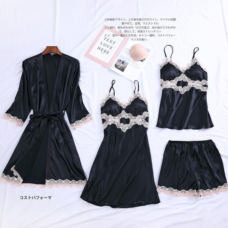 4PCS Robe Set Satin Women Kimono Bathrobe Mini Gown Sexy Sleepwear Lace Nightgown Home Dressing Bride Bridesmaid Wedding Gown
