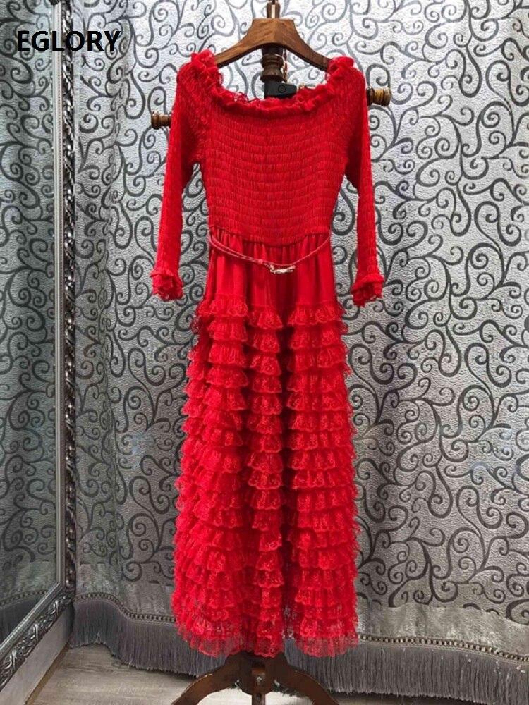 Slim Fit & Flare robe 2019 automne hiver Sexy fête événements femmes en cascade à volants dentelle Patchwork mi-mollet rouge noir robe ceinture