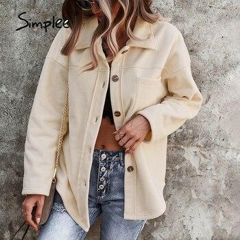 Simplee Shirt Collar Winter Autumn Sheepskin Coat Casual Long Sleeves Button Short Jackets Fashion Office Lady Women Outwear 1