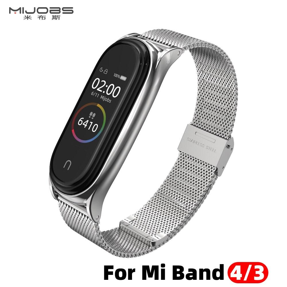 For Xiaomi Mi Band 4 Strap Metal Milanese Stainless Steel MiBand 4 Strap Compatible Bracelet Wrist Pulseira Mi Band 4 3 Correa