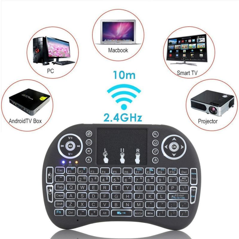 2.4G Wireless Mini Keyboard 7 Color Backlit Game Keyboards 92 Keys For Xbox TV Box PC Laptop