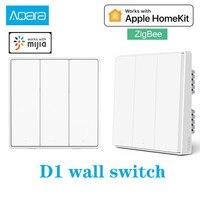 Aqara-interruptor inteligente de pared D1 Zigbee, Control remoto inalámbrico, luz, cable de fuego neutro, botón Triple para Xiaomi Smart home