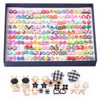 Brincos bonitos para as mulheres 100 pares em caixa brincos do parafuso prisioneiro macio cerâmica gotas brincos com cristal pendientes conjunto de brincos de natal
