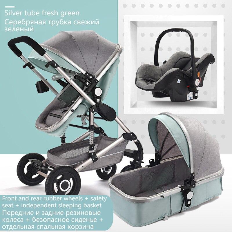 Free Ship High Landscape Baby Stroller 3 In 1 Stroller Multifunctional Car Two Way Child Pram Baby Comfort For Newborn Send Gift