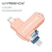 WANSENDA 3 in 1 USB 3.0 Flash Drive for iPhone/iPad/IOS/Android/PC Pendrive 128GB 64GB 32GB 16GB OTG Pen Drive USB Memory Stick|  -