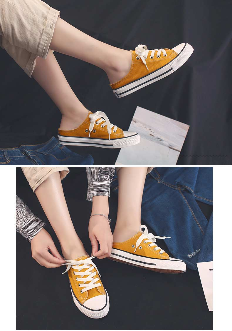 Casual half-drag canvas shoes woman 2019 new fashion solid sneakers women vulcanized shoes lace-up no heel lazy shoes flats (7)