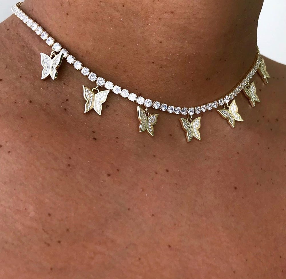 Image 3 - iced out bling hip hop women jewelry Heart arrow cz tennis chain  with cz butterfly charm 32 10cm choker necklacesChoker Necklaces   -