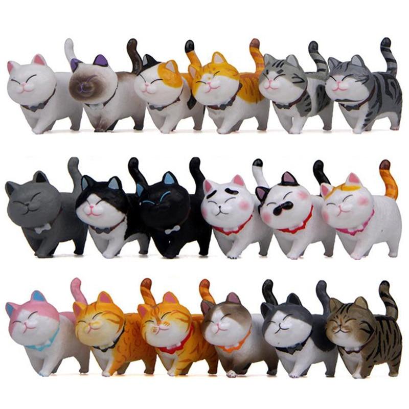 9PCS/Lots Japanese Pet Family Tabby Cat Resin Craft Cute Miniature Figurines DIY Fairy Garden Decor Dollhouse Collection Toys