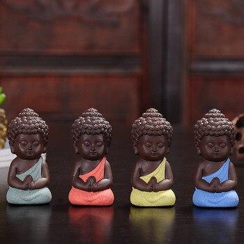 F Explosion Small Buddha Tea Pets Ceramic Crafts Decorative Home Ornaments Mini Figurines 4.9*9.5cm 1