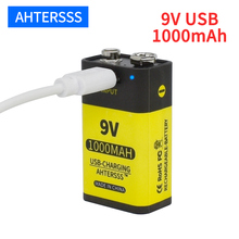 цена на 1-16pcs USB 9V 6F22 rechargeable battery 9V 6f22 lithium ion battery 1000mAh for multimeter Smoke alarm etc batteries