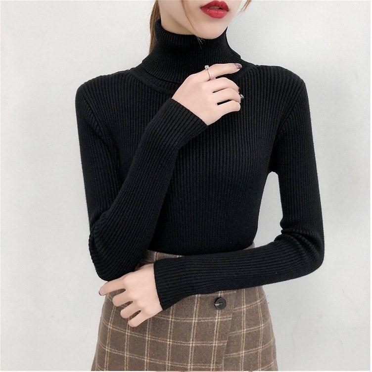Bonjean Knitted Jumper Autumn Winter Tops Turtleneck Pullovers Casual Sweaters Women Shirt Long Sleeve Short Tight Sweater Girls