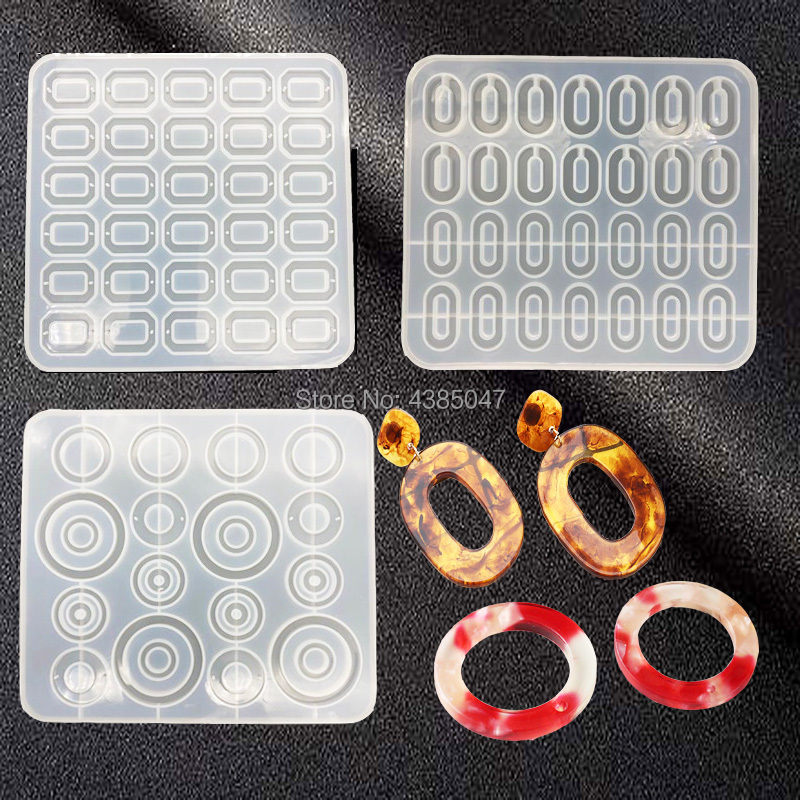 Rectangle Round DIY Crystal Epoxy Bracelet Necklace Pendant Mold Resin Handmade Pendant Making Silicone Mold