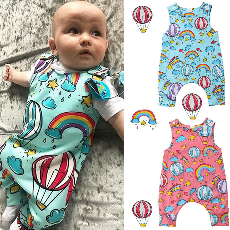 Newborn Kids Long Sleeve Jumpsuit Rainbow Turkey Kid Pajamas