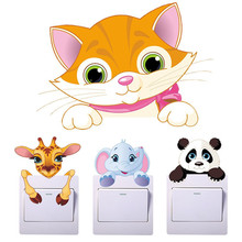 Switch Socket Frame Decor Cute Animals Elephant Cat Panda Giraffe Light Sticker Removable Wall Home Decorations