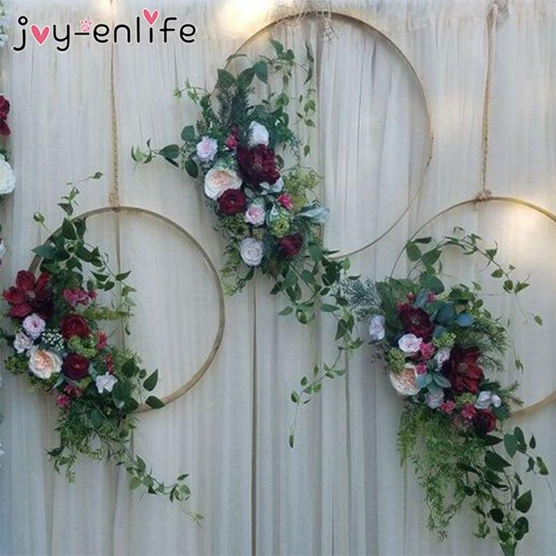 Wedding Backdrop Wall Decoration Metal Hoops Door Hanging Gold Iron Metal Ring Wreath Hanging For Weddings Mariage Decor Home