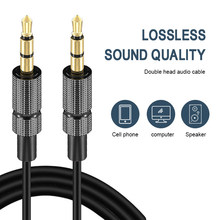 Aux cabo jack 3.5mm banhado a ouro cabo de áudio estéreo jack adaptador de cabo de áudio para carro fone de ouvido alto-falante portátil fio aux cabo
