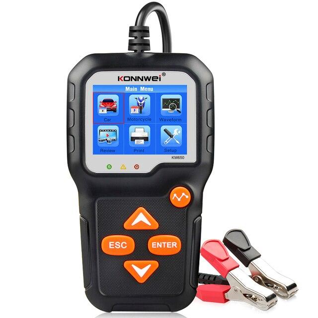 Konnwei kw650 6v 12v bateria de carro tester 100 2000 cca motocicleta bateria sistema analisador de carregamento cranking teste ferramenta de diagnóstico