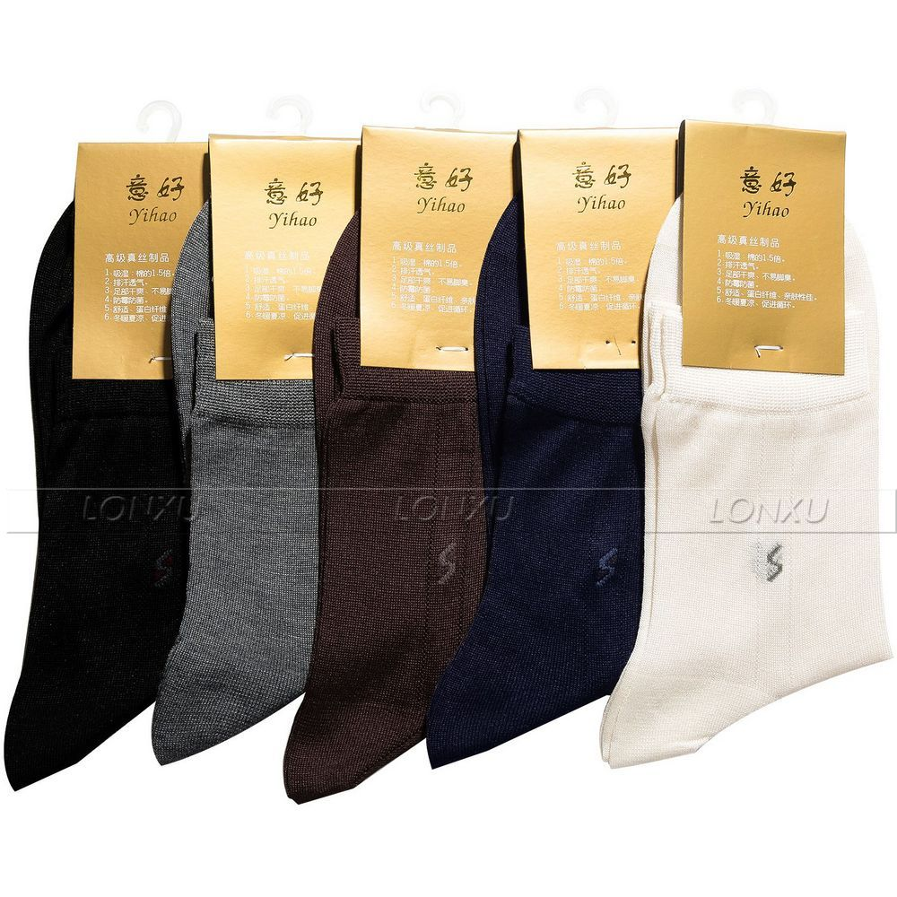5 Pairs Mens 100% Silk Socks 100% Mid Calf Free P&p Black White Beige Gray__ Suitable For Four Seasons