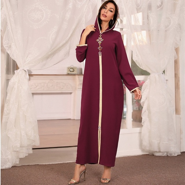 Hooded Kaftan Dress for Women Fashion Ethnic Hand Stitch Diamond Ribbon Trim Moroccan Dubai Turkey Arabic Clothes Eid 2