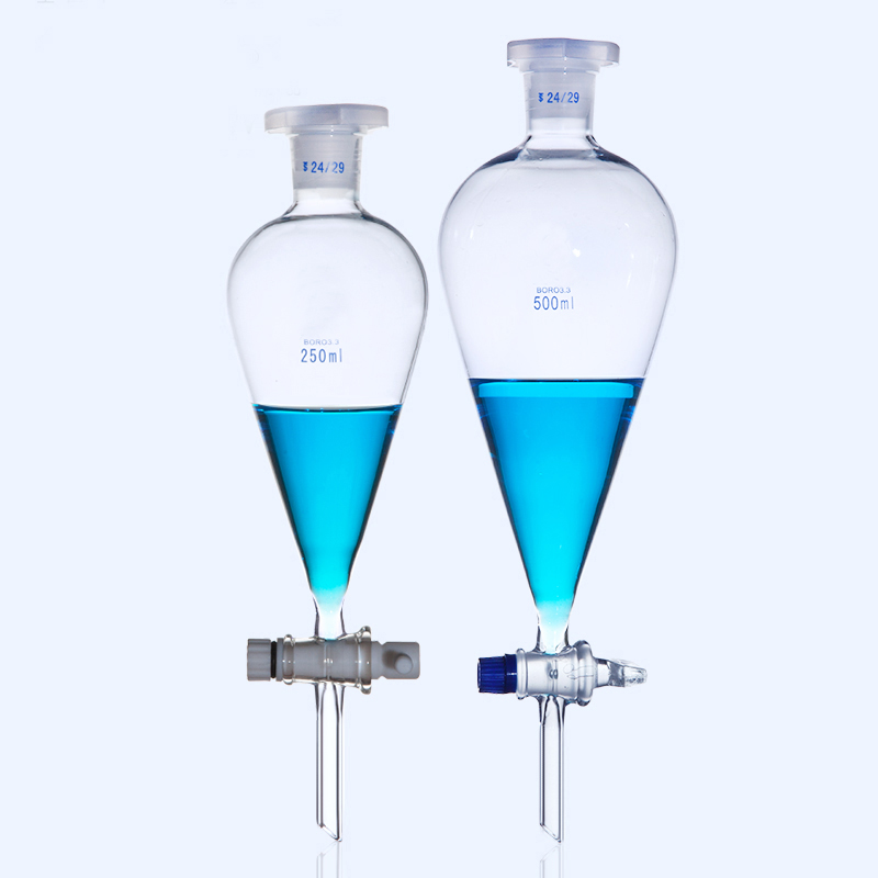 Lab Glass Pear Shape Separatory Funnel Laboratory Separating Funnel With Glass Or PTFE Stopper