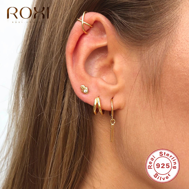 ROXI 925 Sterling Silver Hamsa Hand Earring Gold Silver Hand Ear Stud With Clear Cubic Zirconia Earring Lucky Jewelry Party Gift