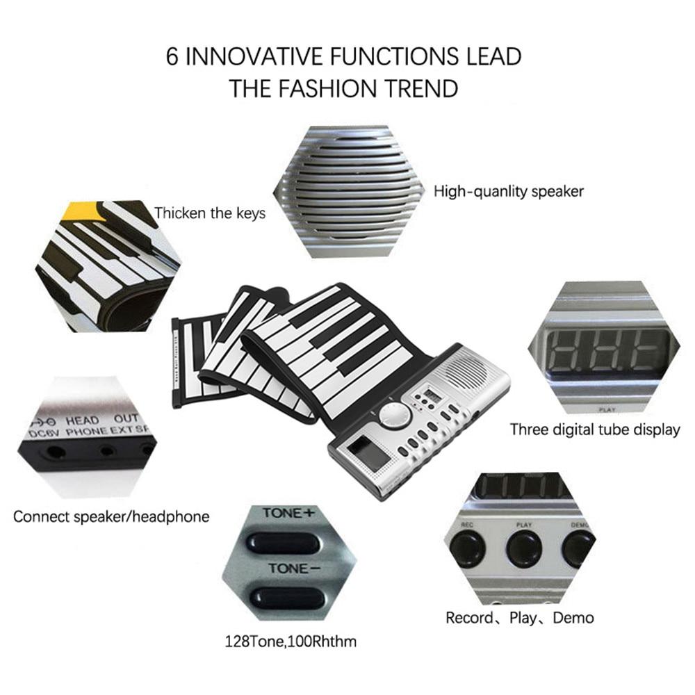 Teclado eletrônico de silicone dobrável, portátil, 61