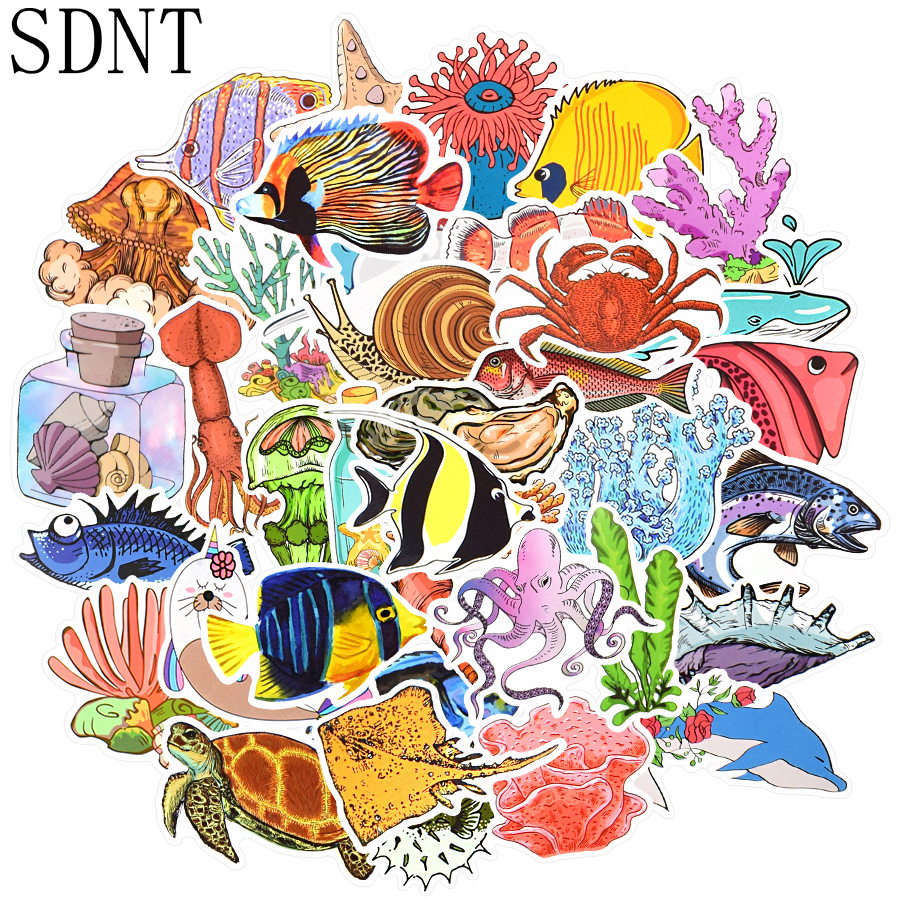 50 PCS Sea Fishes Animal Stickers Ocean World Plants Coral Jellyfish Cute Cartoon Waterproof Sticker Kids DIY Scrapbook Decals