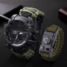 LED ساعة عسكرية مع البوصلة 30 متر مقاوم للماء ساعة رياضية للرجال ساعة رياضية للرجال صدمة الرياضة ساعات المعصم الإلكترونية