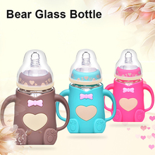 240ML Baby Bottle Newborn Cartoon Wide Mouth Anti-Scalding Glass Give Pacifier Medium Flow Food Grade