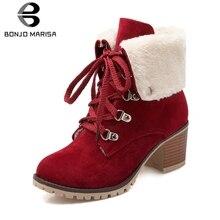 цены BONJOMARISA Classic Hot Sale Winter non-slip Platform Snow Boots Women Large Size 34-43 Warm Fur Booties High Heels Shoes Woman