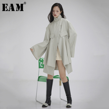 [EAM] Loose Fit Asymmetrical Hollow Out Big Size Jacket New Stand Collar Long Sl