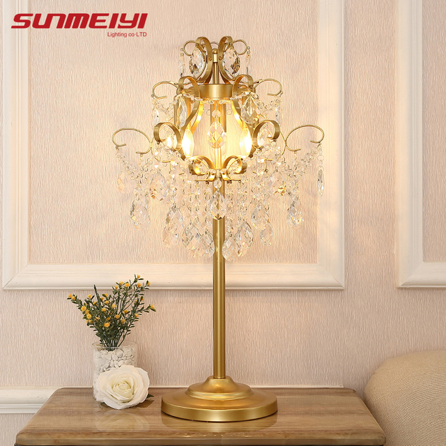 Luxury Crystals Table Lights LED Gold Desk Lamp For Dining room Living room Bedroom Study Home Lighting Fixture Nordic Bar Lamp
