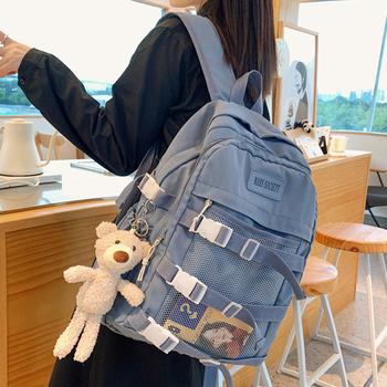 Wodoodporne nylonowe damskie plecaki modna klamra siatkowa plecak szkolne torby dla nastoletniej dziewczyny torba na książki studenckie torby uniwersyteckie modne tanie i dobre opinie MAGITATI Tłoczenie WOMEN Miękka 20-35 litr Wnętrza przedziału Komputer pośrednia Wewnętrzna kieszeń Wnętrze slot kieszeń