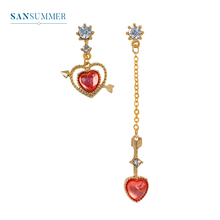 Love Rhinestone Gold Asymmetric Arrow Pendant Girl Fashion Cute Romantic Pop New Hot Personality Earrings For Women Jewelry