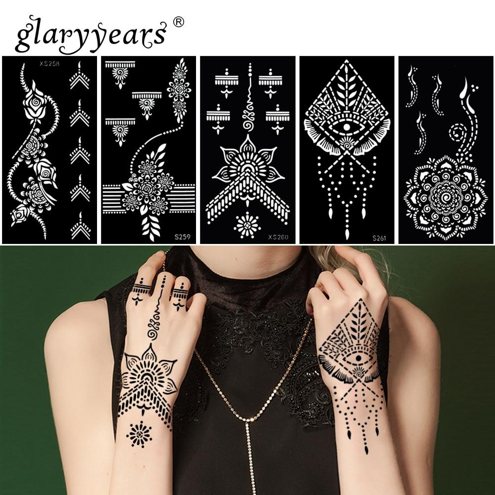 Glaryyears 6 Pieces Set Hot Henna Stencil Lace Pattern Paste Drawing Lady Hand Body Art Tattoo Stencil Sexy Product Waterproof Tattoo Stencils Aliexpress