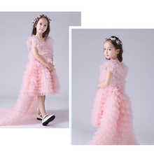 Pink Flower Girl Dresses for Weddings 2018 Ball Gown Girl Kids First Communion Dress for Girls Pageant Gown with Removable Train flower girl dresses for weddings lace ball gown long sleeves kids evening gown first communion dresses for girls pageant dress