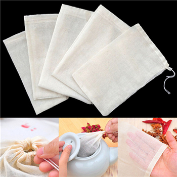 1pc/10Pcs Cotton Tea Bags Muslin Drawstring Straining Bag for Tea Herb Bouquet Spice 8x10cm Coffee Pouches Tools Home Garden image
