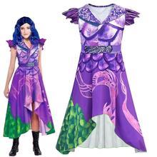 Women Descendants 3 Celia Cosplay Purple Short Sleeved Dresses Halloween Masquerade dress