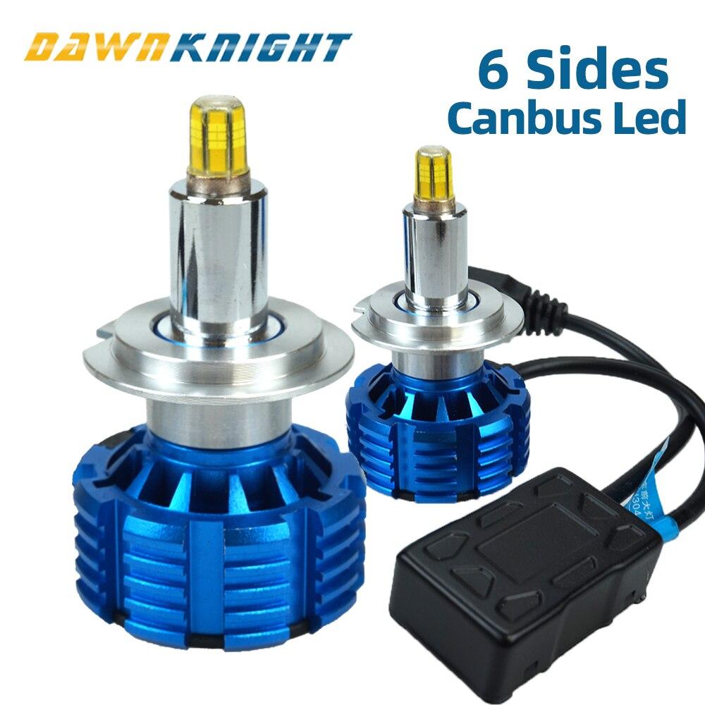 2 шт. 360 градусов светодиодные фары H7 H8 H9 H11 D2S 9005 HB3 9006 HB4 9012 Canbus светодиодные лампочки EMC 15000LM 5500K: 6-стронние кубики мини светодиодная лампа