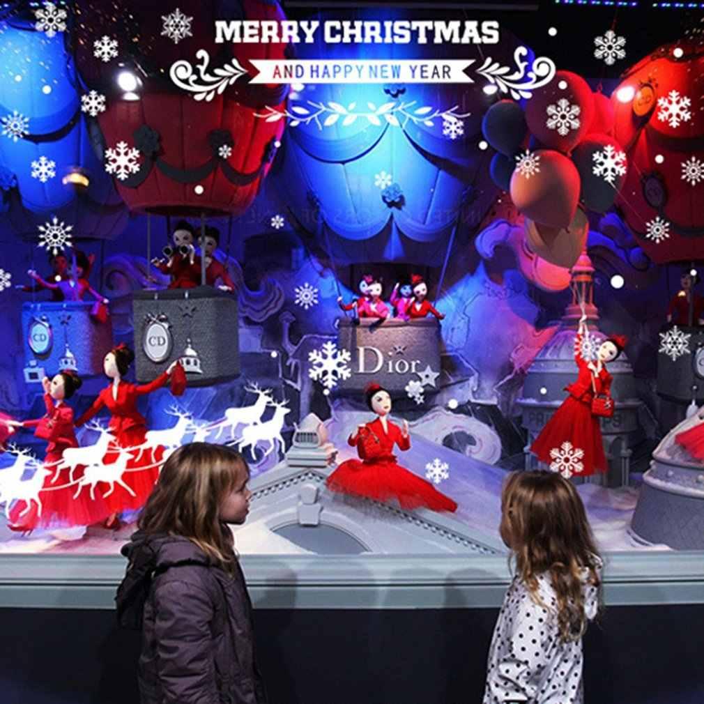 Autocollants de fenêtre verre à faire soi-même mur nouvel an joyeux noël flocon de neige Santa cerf & traîneau Ride autocollant décoration de la maison 60*45cm