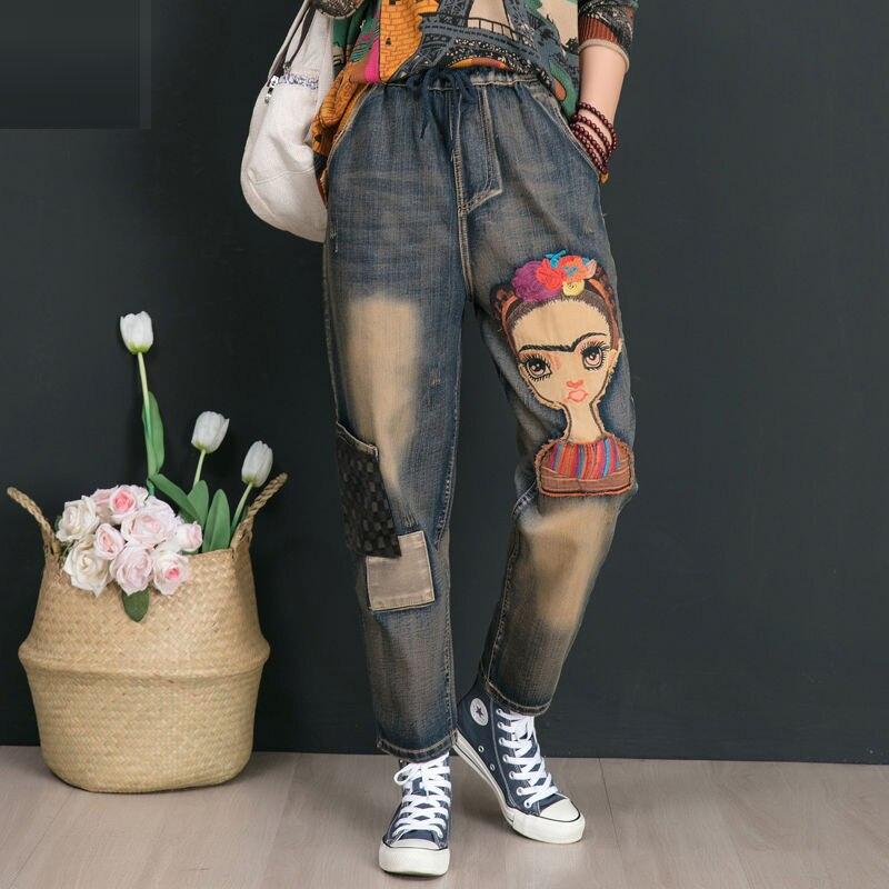 Autumn Winter Women Elastic Waist Cotton Denim Pants Retro Patchwork Embroidered Jeans Plus Size Female Pants High Quality D555