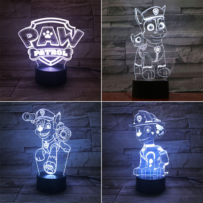 PAW Patrol 3D LED Night Light 7 Color Changing Lamp Dog Room Decoration Action Figure Toy For Birthday Christmas Gift