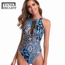 Swimsuit Print Monokini Women Plus-Size Tank Heart Badpak Slim
