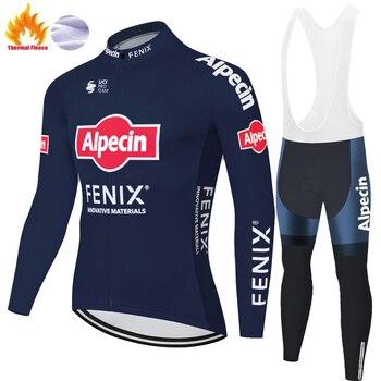 Team alpecin fenix-ropa térmica de lana para ciclismo, pantalones de ciclismo con...