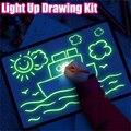 Флуоресцентная доска для рисования на английском языке, светильник, веселая и развивающая игрушка, учиться рисовать, волшебная доска, разви...